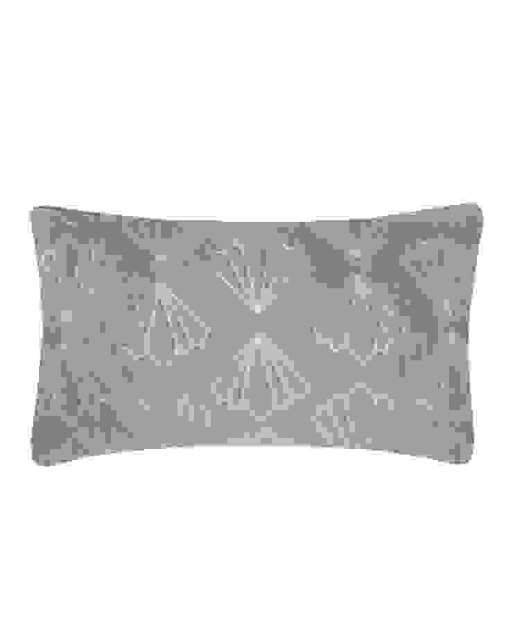 Quilted Petal Cotton Velvet Cushion in Grey, 30x50cm: modern  by Nitin Goyal London, Modern