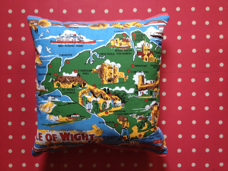 Isle of Wight souvenir cushion: eclectic  by Random Makes, Eclectic