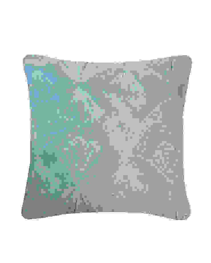 Quilted Petal Cotton Velvet Cushion in Blue, 40x40cm: modern  by Nitin Goyal London, Modern