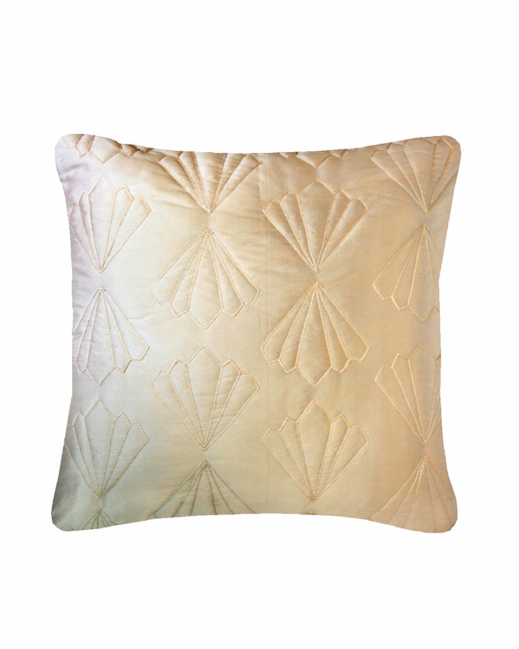 Quilted Petal Cushion in Cream, 40x40cm: modern  by Nitin Goyal London, Modern