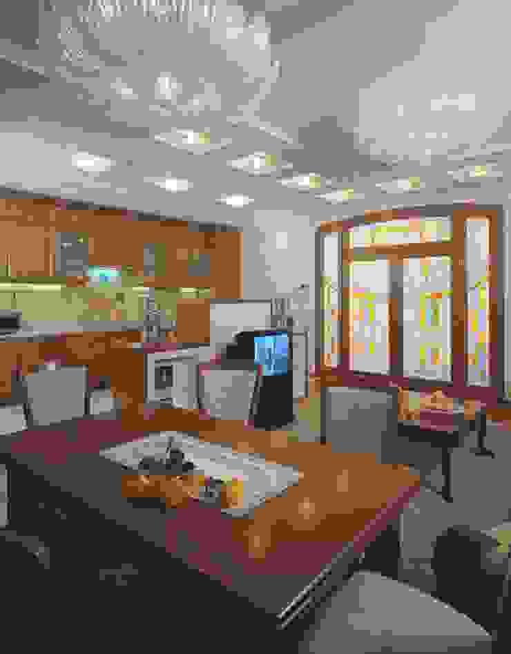 Интерьеры двухуровневой квартиры на ул. Куусинена Гостиные в эклектичном стиле от дизайн студия 'LusiSarkis ' Эклектичный