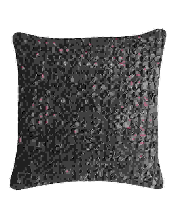 Hand Smocked Flower Cushion in Chocolate, 40x40cm: modern  by Nitin Goyal London, Modern