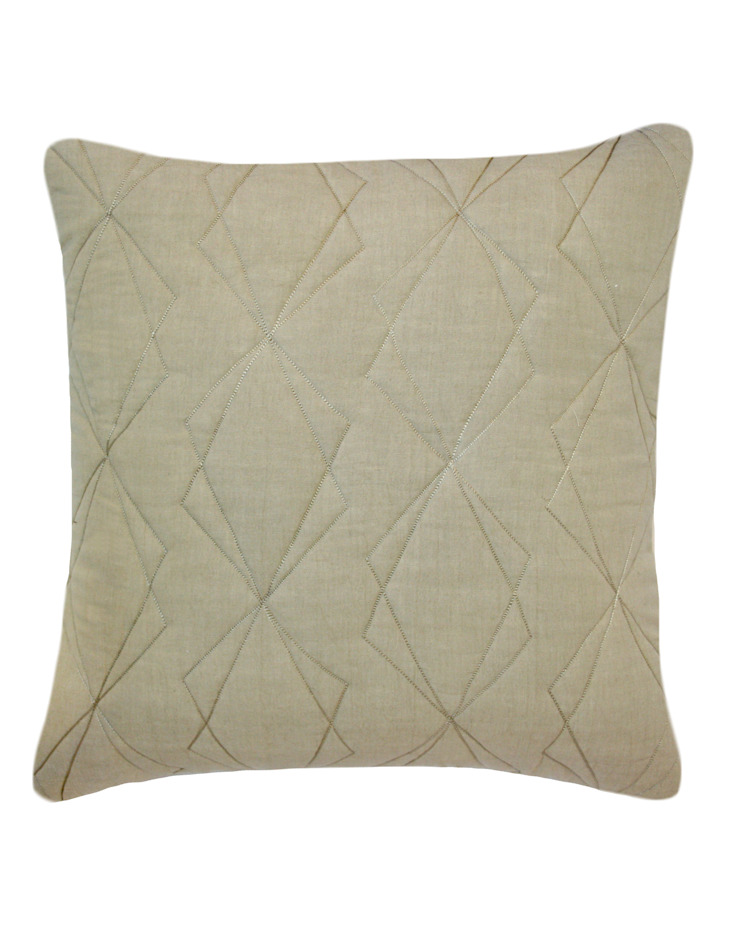 Quilted Duo Cotton Cushion in Natural, 50x50cm: modern  by Nitin Goyal London, Modern