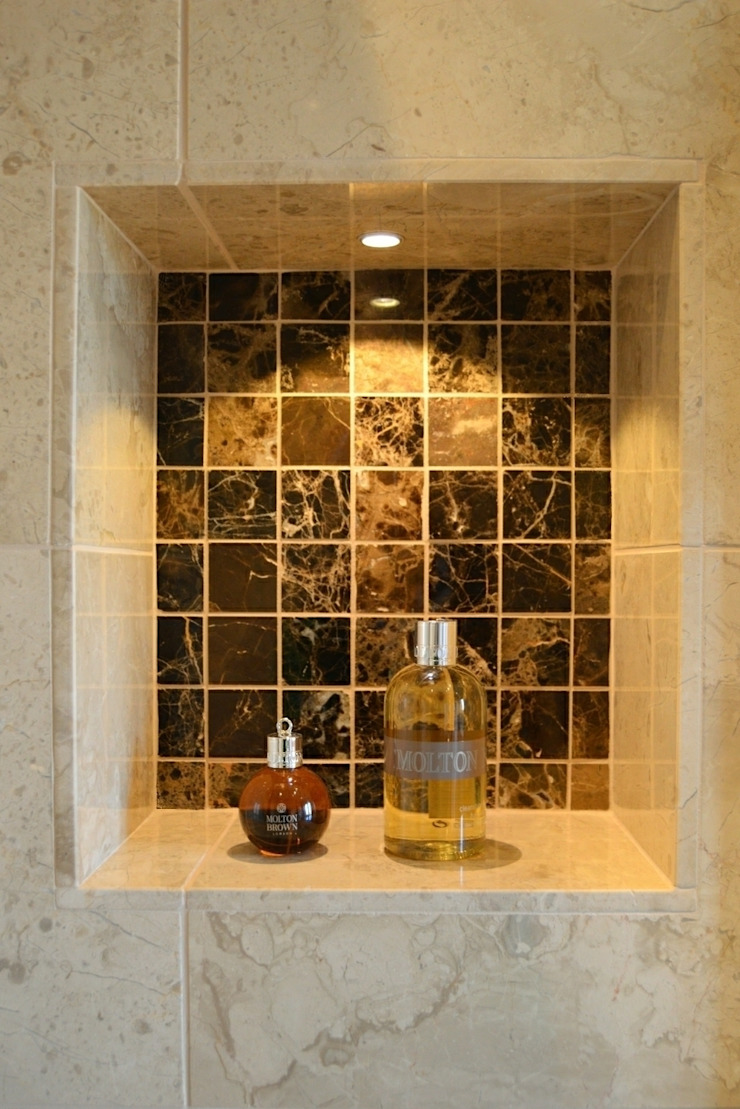 Shower Niche tiled in Marron Polished Marble Mosaic Tiles Modern bathroom by Loveridge Kitchens & Bathrooms Modern