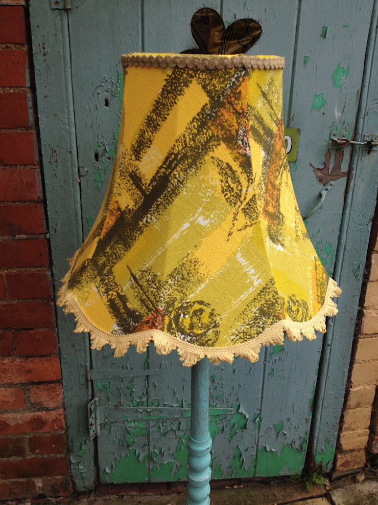 Yellow 1960's barkcloth lampshade: eclectic  by Random Makes, Eclectic
