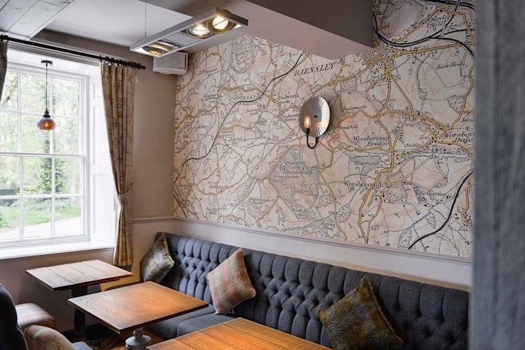 Bespoke map wallcoverings Country style gastronomy by Tektura Wallcoverings Country