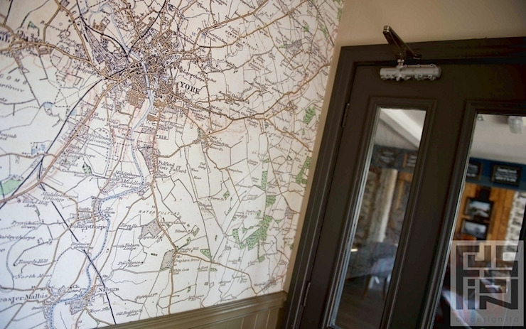 Bespoke map wallcoverings Classic bars & clubs by Tektura Wallcoverings Classic