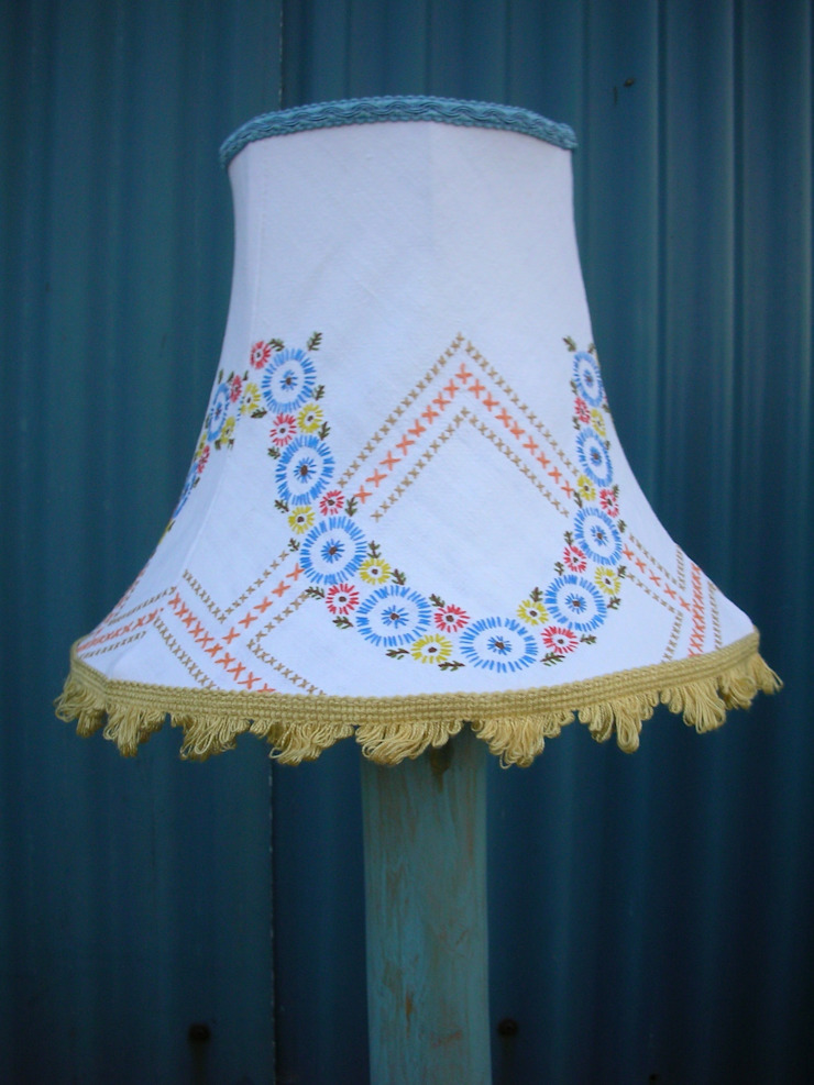 Embroidered tablecloth lampshade: eclectic  by Random Makes, Eclectic