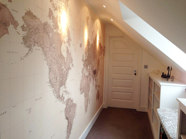 Sepia World Map di Wallpapered Classico