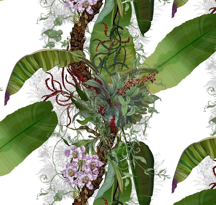 Timorous Beasties - Tropical Orchid: tropical  by Tektura Wallcoverings, Tropical
