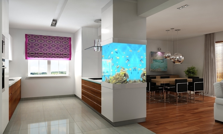 Dom pod Warszawą Nowoczesna kuchnia od ZAWICKA-ID Projektowanie wnętrz Nowoczesny