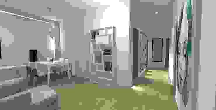 Dla dwojga Minimalistyczny korytarz, przedpokój i schody od ZAWICKA-ID Projektowanie wnętrz Minimalistyczny