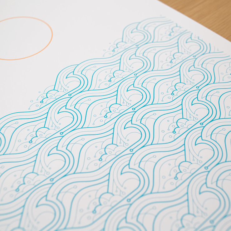 Waves A2 screen print: modern  by The Lost Fox, Modern
