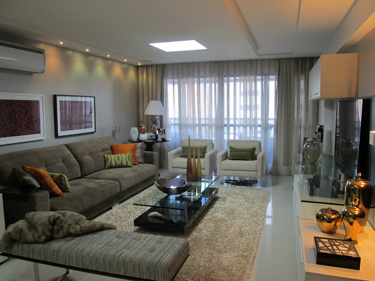 Apartamento de 210m² Salas de estar modernas por unacasa arquitetura Moderno