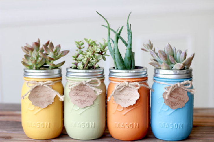 Mason Jar planten:  Binnenbeplanting door Mason Jar Kitchen,