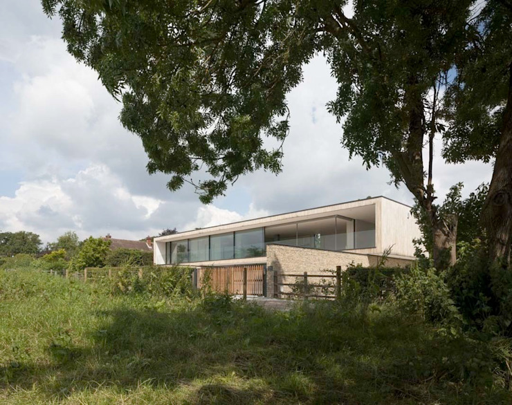 Front facade from fields by John Pardey Architects