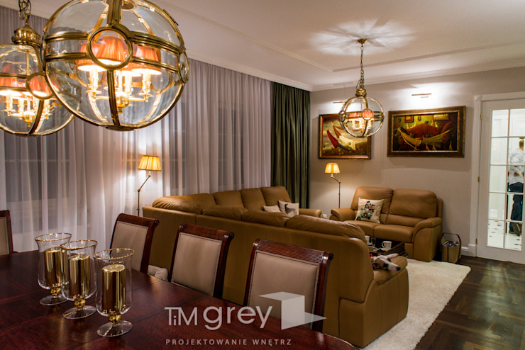 Classic Design – 230m2 Klasyczny salon od TiM Grey Interior Design Klasyczny