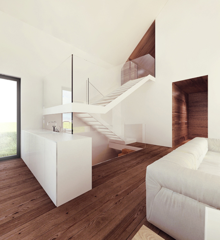 Czarny Dom Minimalistyczny korytarz, przedpokój i schody od 081 architekci Minimalistyczny