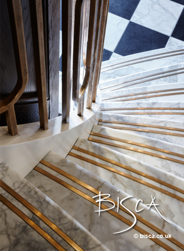 Stone Staircase with inlaid bronze non slip inserts Classic style corridor, hallway and stairs by Bisca Staircases Classic