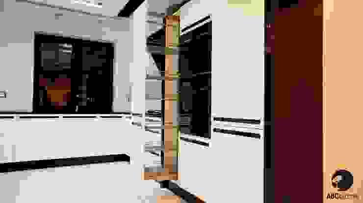 Połączenie bieli z czernią, MDF lakier połysk połączony z czarnymi uchwytami ze szkła Lacobel.: styl , w kategorii  zaprojektowany przez ABC kuchnie,Minimalistyczny
