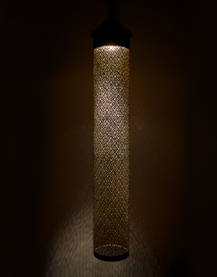 Cylindrical Pendant Light - Antique Brass di Moroccan Bazaar Mediterraneo