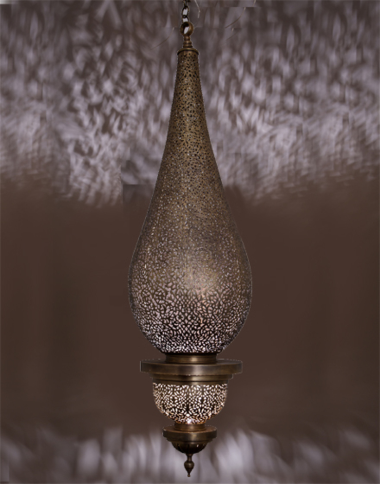 Flame Pendant Light in Antique Brass di Moroccan Bazaar Mediterraneo