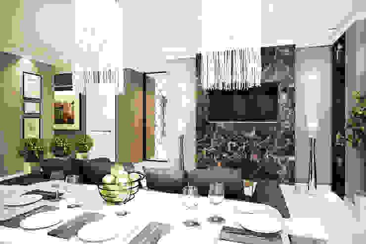 Трехкомнатная квартира в серых тонах Гостиные в эклектичном стиле от INHOUSE Эклектичный