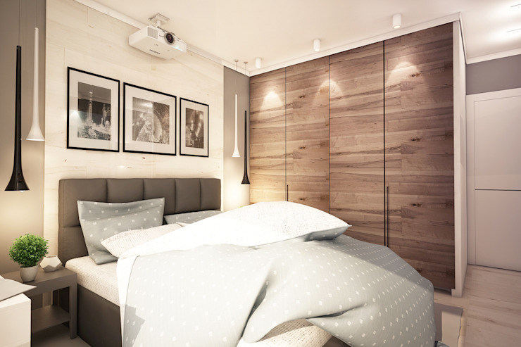 Трехкомнатная квартира в серых тонах Спальня в эклектичном стиле от INHOUSE Эклектичный