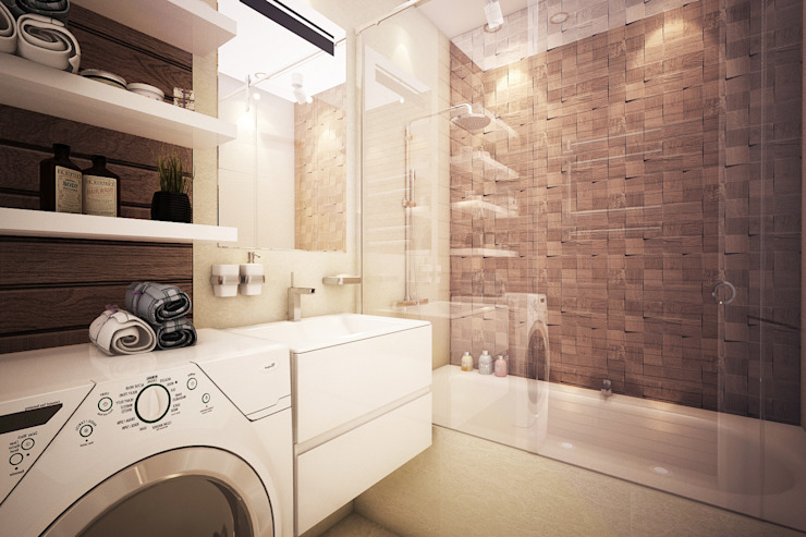 Трехкомнатная квартира в серых тонах Ванная комната в стиле минимализм от INHOUSE Минимализм