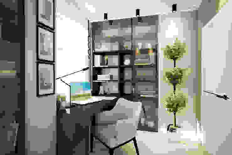 Трехкомнатная квартира в серых тонах Рабочий кабинет в эклектичном стиле от INHOUSE Эклектичный