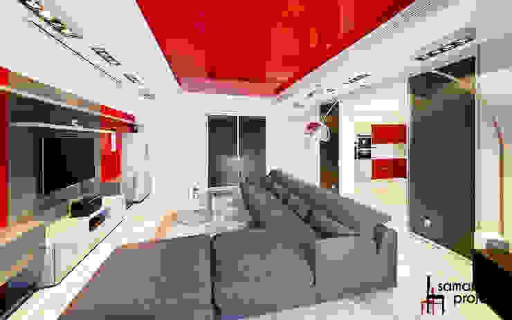 Квартира для современной семьи Гостиная в стиле минимализм от Samarina projects Минимализм