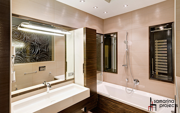 Квартира для современной семьи Ванная комната в стиле минимализм от Samarina projects Минимализм