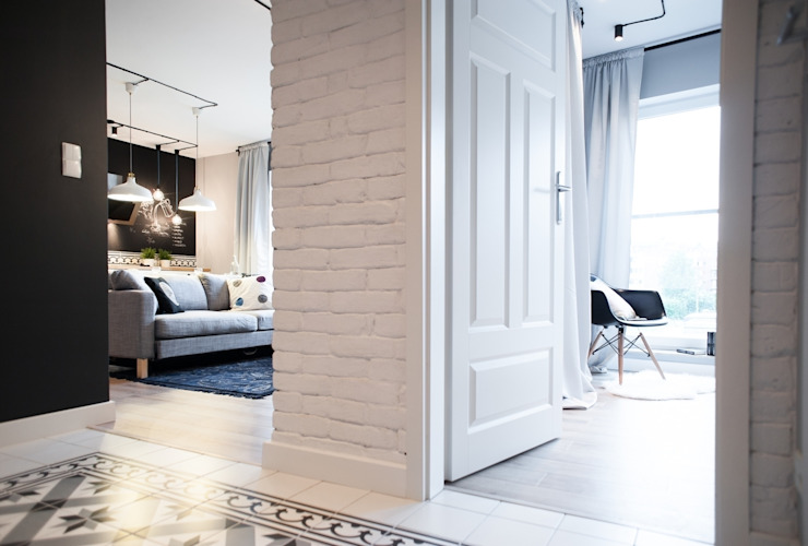 Scandinavian style corridor, hallway& stairs by Raca Architekci Scandinavian