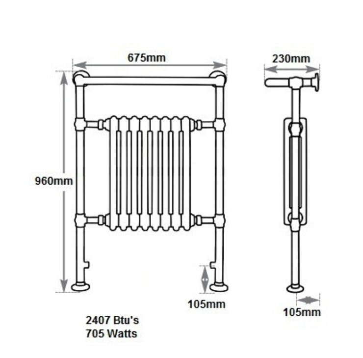 Dimensions of the Broughton Towel Rail by UKAA   UK Architectural Antiques