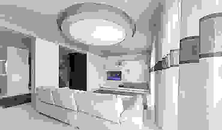 salon z okrągłą lampą Nowoczesny salon od Anchal Anna Kuk-Dutka Nowoczesny