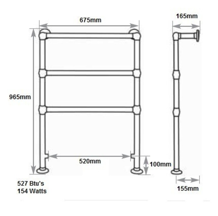 Dimensions of the Beckingham Copper Towel Rail by UKAA   UK Architectural Antiques