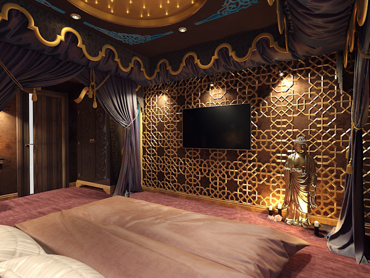 Спальня в Азиатском стиле. Екатеринбург. ул.Шварца, 14. Спальня в азиатском стиле от Tutto design Азиатский