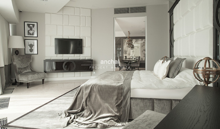Klasyczna sypialnia z elemntami modernizmu Klasyczna sypialnia od Anchal Anna Kuk-Dutka Klasyczny