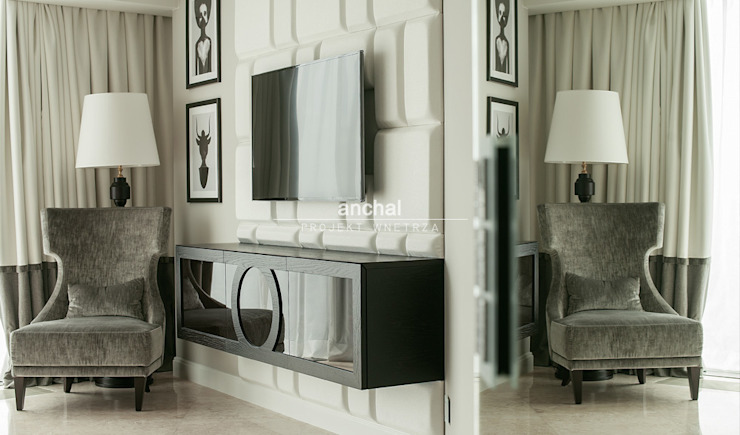 Szafka pod TV i fotel naszego autorstwa od Anchal Anna Kuk-Dutka Klasyczny