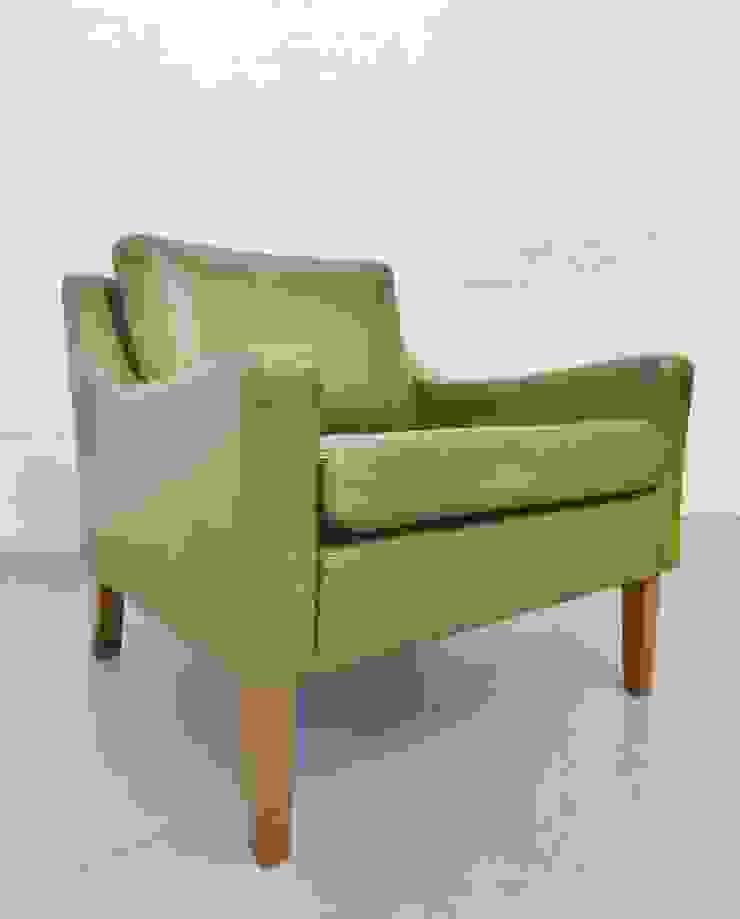 1960s classic Danish green leather armchair : scandinavian  by Archive Furniture , Scandinavian
