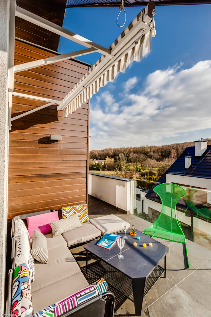 Balcon, Veranda & Terrasse minimalistes par Biuro Projektowe Pióro Minimaliste