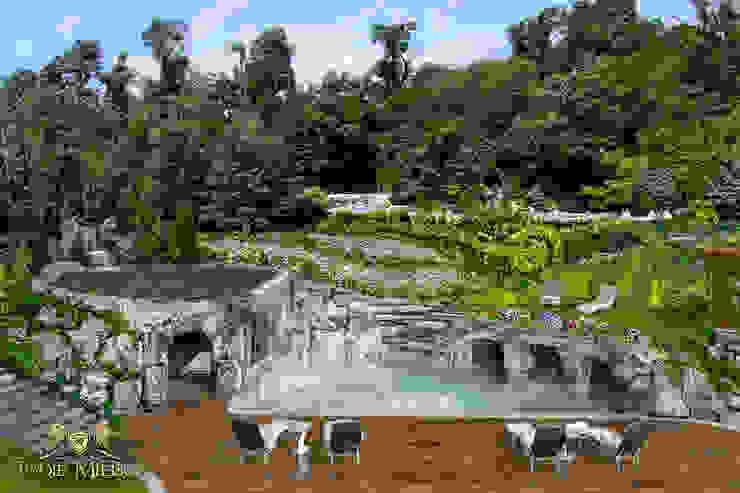 Taras połączony z grotą skalną i basenem Nowoczesny balkon, taras i weranda od Twoje Miejsce Nowoczesny