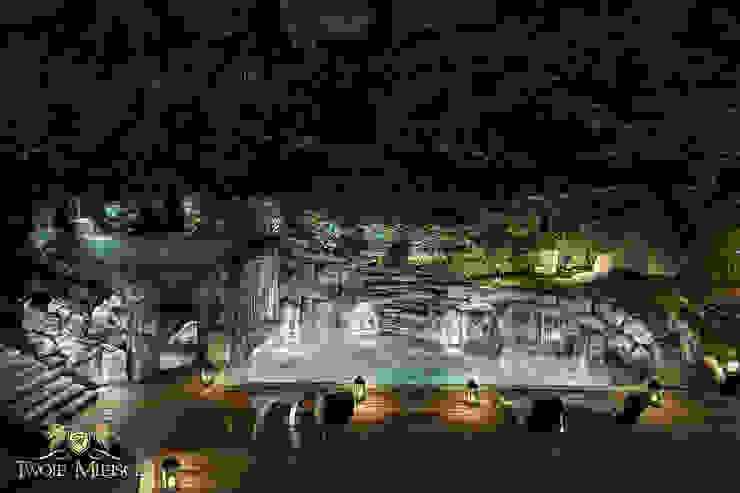 Taras połączony z grotą skalną i basenem Nowoczesny basen od Twoje Miejsce Nowoczesny