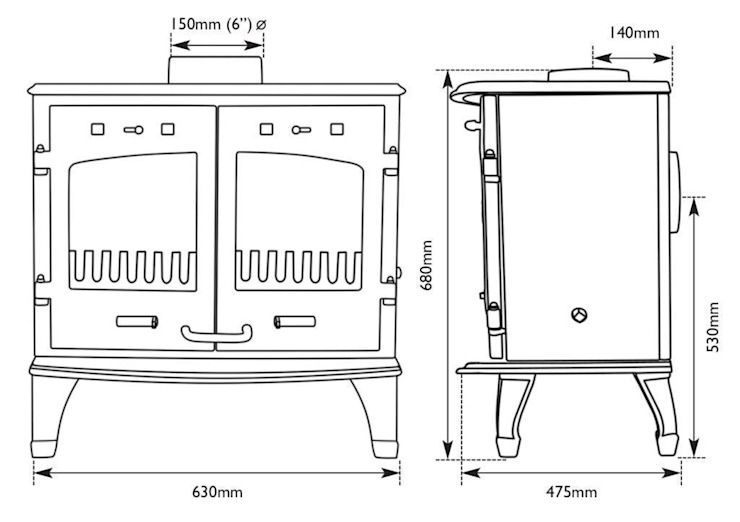 Dimensions of Carron Enameled 11kw Stove by UKAA | UK Architectural Antiques
