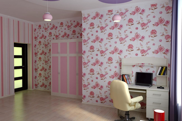 Детская для двух девочек Детские комната в эклектичном стиле от Цунёв_Дизайн. Студия интерьерных решений. Эклектичный