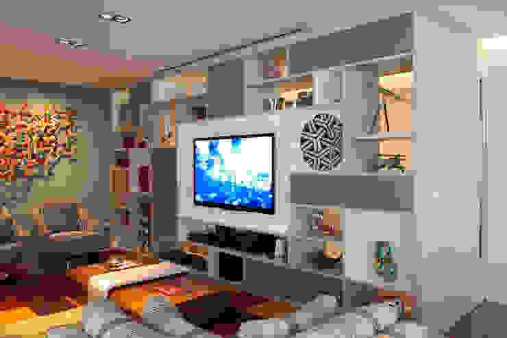 Living Com Estante que Divide Ambientes Salas de estar modernas por homify Moderno