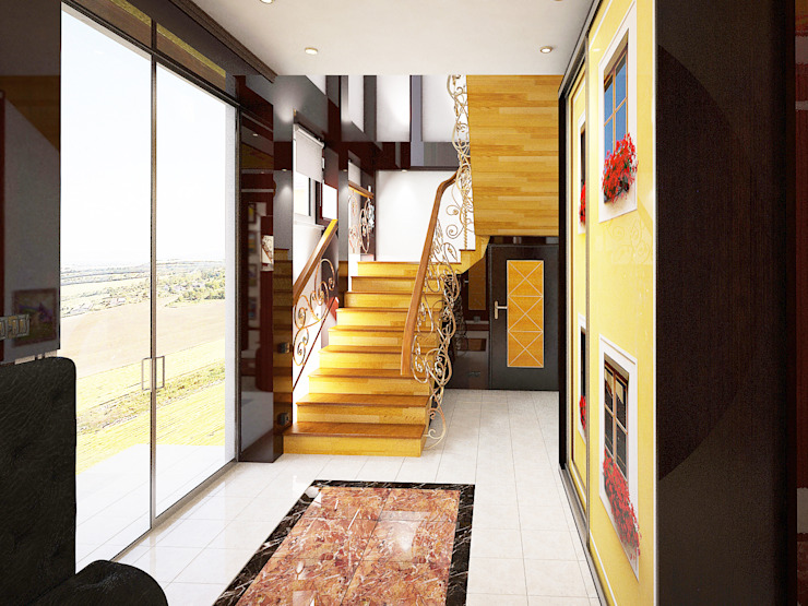 Дизайн студия Александра Скирды ВЕРСАЛЬПРОЕКТ Eclectic style corridor, hallway & stairs