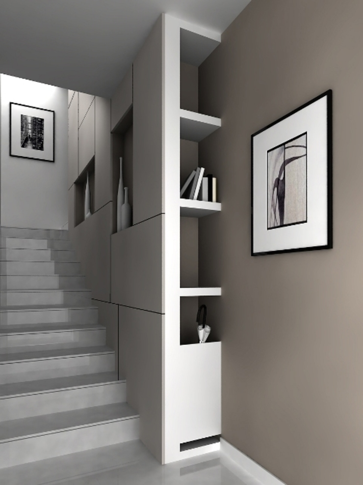 1 Ingresso, Corridoio & Scale in stile minimalista di maps_architetti Minimalista
