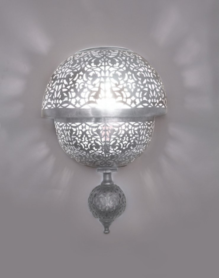 Circular Pierced Wall Light in Silver von Moroccan Bazaar Mediterran