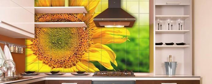 Sunflower Mural Cuisine originale par Tile Fire Ltd. Éclectique